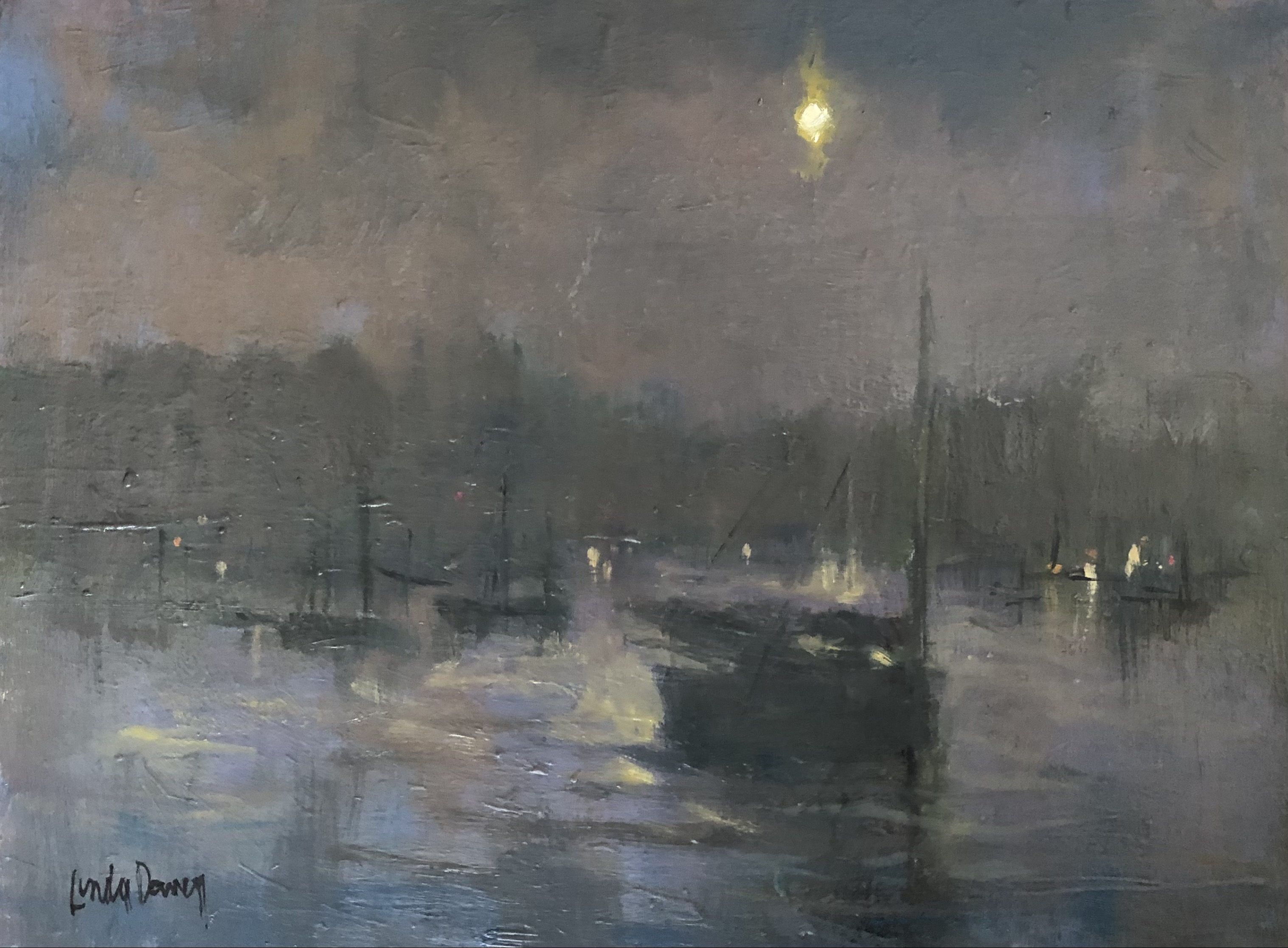 Linda King Davey, Moonlit Harbor